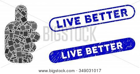 Mosaic Success Gesture And Corroded Stamp Seals With Live Better Text. Mosaic Vector Success Gesture