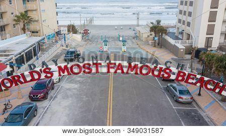 January 24, 2020 - Daytona Beach, Florida, USA: Aerial views of the city of Daytona Beach, Florida, the Worlds Greatest Beach