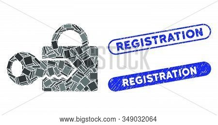 Mosaic Registration Key And Grunge Stamp Seals With Registration Text. Mosaic Vector Registration Ke