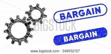 Collage Reduction Gears And Distressed Stamp Seals With Bargain Phrase. Mosaic Vector Reduction Gear