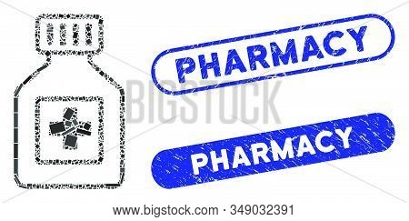 Mosaic Pharmacy Vial And Rubber Stamp Seals With Pharmacy Phrase. Mosaic Vector Pharmacy Vial Is Com