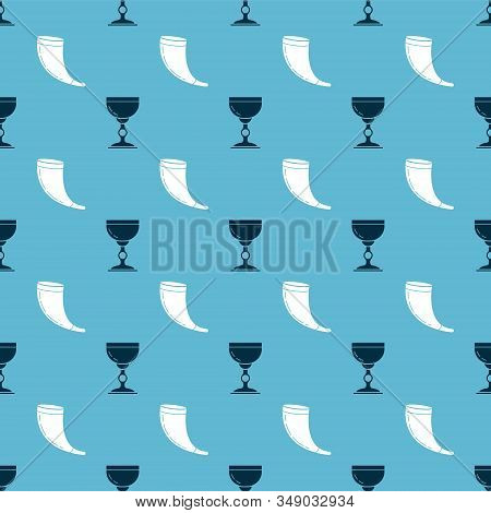 Set Jewish Goblet And Traditional Ram Horn, Shofar On Seamless Pattern. Vector