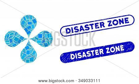Mosaic Map Pointers And Corroded Stamp Watermarks With Disaster Zone Text. Mosaic Vector Map Pointer