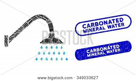 Collage Shower And Grunge Stamp Seals With Carbonated Mineral Water Phrase. Mosaic Vector Shower Is