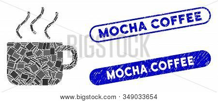 Mosaic Coffee Cup And Distressed Stamp Seals With Mocha Coffee Text. Mosaic Vector Coffee Cup Is Cre