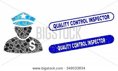 Mosaic Financial Policeman And Grunge Stamp Seals With Quality Control Inspector Phrase. Mosaic Vect