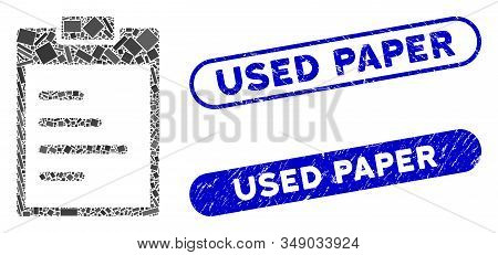 Mosaic Inventory Pad And Corroded Stamp Seals With Used Paper Text. Mosaic Vector Inventory Pad Is D