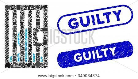 Mosaic Prison Locked Door And Corroded Stamp Seals With Guilty Caption. Mosaic Vector Prison Locked