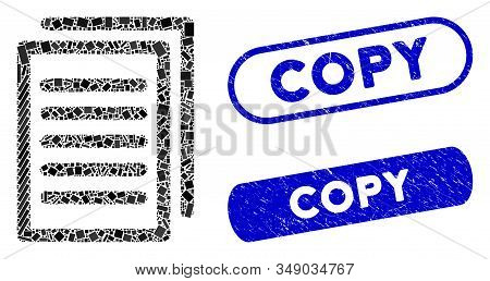 Mosaic Copy And Grunge Stamp Seals With Copy Phrase. Mosaic Vector Copy Is Composed With Randomized