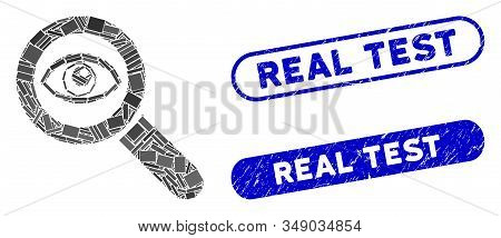 Mosaic Eye Explore And Rubber Stamp Seals With Real Test Text. Mosaic Vector Eye Explore Is Formed W