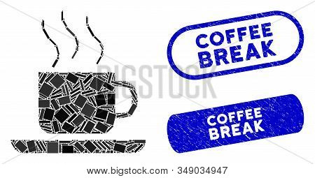 Mosaic Coffee-break And Distressed Stamp Seals With Coffee Break Text. Mosaic Vector Coffee-break Is