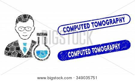 Mosaic Chemist And Corroded Stamp Seals With Computed Tomography Phrase. Mosaic Vector Chemist Is Fo