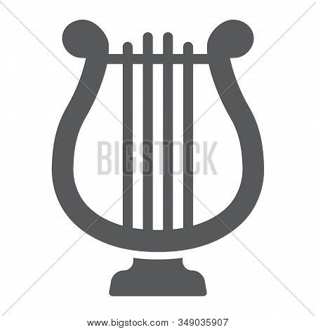 Harp Glyph Icon, St Patricks Day And Music, Lyre Sign, Vector Graphics, A Solid Pattern On A White B