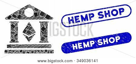 Mosaic Ethereum Bank Building And Rubber Stamp Seals With Hemp Shop Caption. Mosaic Vector Ethereum