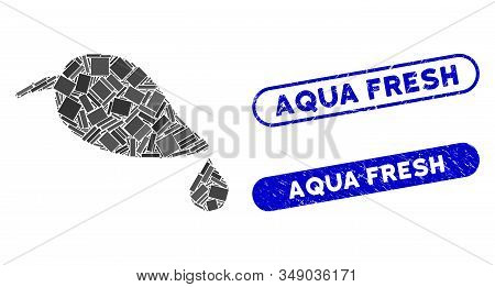 Mosaic Natural Leaf With Drop And Rubber Stamp Seals With Aqua Fresh Text. Mosaic Vector Natural Lea