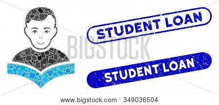 Collage Student And Corroded Stamp Seals With Student Loan Phrase. Mosaic Vector Student Is Composed