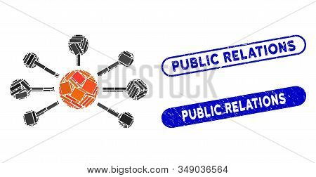 Mosaic Relations And Corroded Stamp Seals With Public Relations Phrase. Mosaic Vector Relations Is C