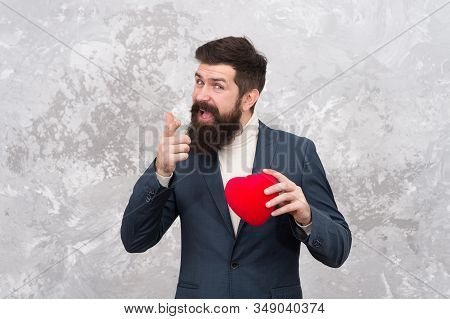 Id Let My Heart Be Yours. Bearded Man With Red Heart Point Finger. Valentines Day Donation. Organ Do