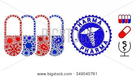 Flu Mosaic Generic Pharma Icon And Round Corroded Stamp Seal With Pharma Caption And Medicine Sign.