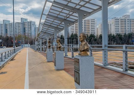 Daejeon, South Korea; January 30, 2020: Bronze Busts Of Influential Korean Scholars Located On Kaist