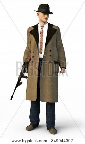 Mafia Gangster Wearing Traditional Clothing With Machine Gun On An Isolated White Background. 3d Ren