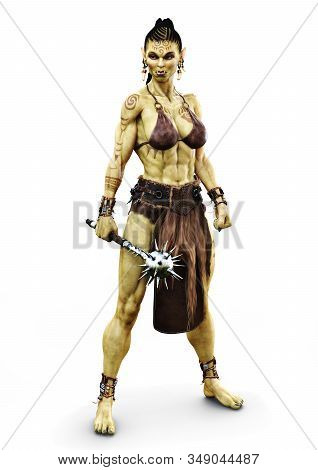Savage Orc Female Posing Holding A Metal Spiked Flail. Fantasy Themed Character On An Isolated White