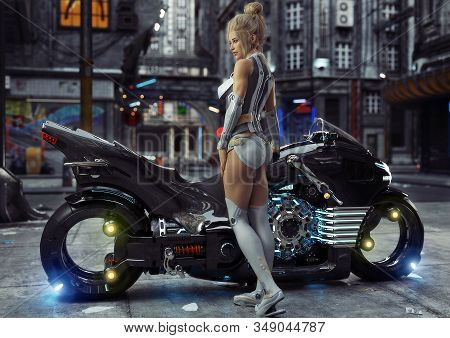 Sexy Young Female In Modern Attire Posing With Her Custom Science Fiction Light Cycle Motorcycle In