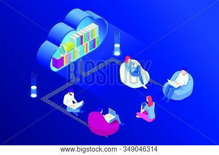 Isometric Concept For Digital Reading, E-classroom Textbook, Modern Education, E-learning, Online Tr