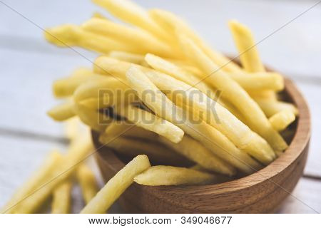 Fresh French Fries In Wooden Bowl Delicious Italian Meny Homemade Ingredients / Tasty Potato Fries F