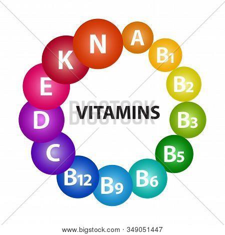 Multivitamin Complex For Health. Vitamin A, B1, B2, B3, B5, B6, B9, B12, C, D, E, K, N. Colorful 3d