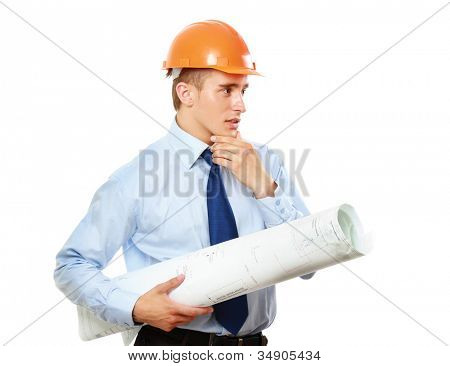 View of young construction worker wearing helmet and holding blueprints isolated on white background