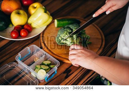 Healthy Food And Diet. Dietary Catering. Take Away Fitness Meal. Woman Preparing Homemade Low-calori