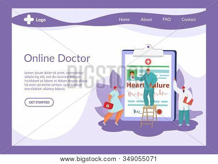 Doctor And Medical Care Vector Illustration Online Website Internet Page. Team Of Cardiologists Doct