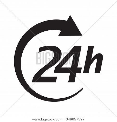 Service Open 24h Hours Day. Black Icon Isolated On White Background. Vector Illustration