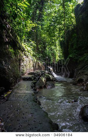 Stoney Path And River In A Tropical Forest In Ubud, Bali