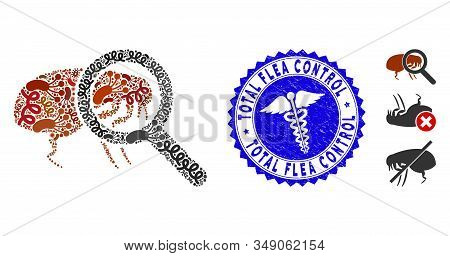 Epidemic Mosaic Total Flea Control Icon And Round Distressed Stamp Seal With Total Flea Control Phra