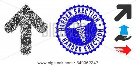 Contagion Mosaic Arrow Up Icon And Rounded Grunge Stamp Seal With Harder Erection Text And Clinic Ic