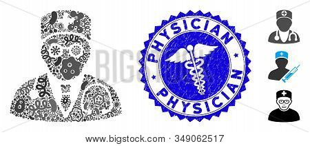 Epidemic Mosaic Physician Icon And Round Rubber Stamp Seal With Physician Text And Clinic Sign. Mosa
