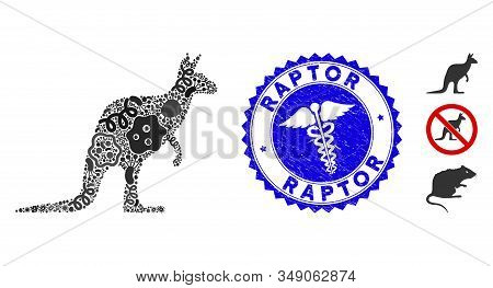 Infection Mosaic Kangaroo Icon And Rounded Rubber Stamp Seal With Raptor Phrase And Medical Icon. Mo