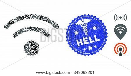 Contagion Mosaic Wi-fi Icon And Round Corroded Stamp Seal With Hell Caption And Caduceus Icon. Mosai