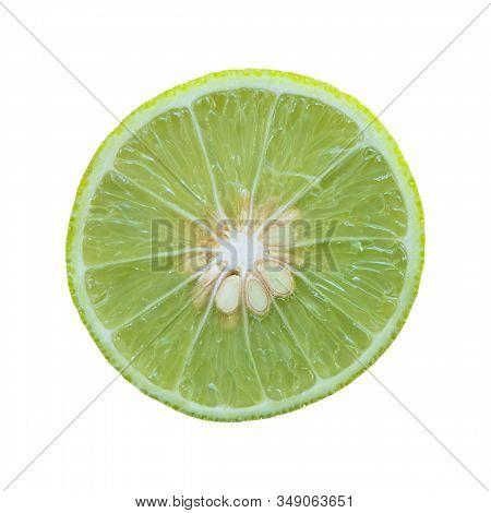 Close Up Green Fresh Lemon On White Background