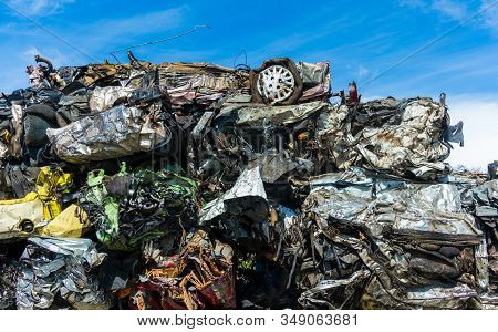 Stack Of Crush Cars Waiting To Be Recycled.