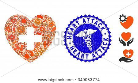 Contagion Mosaic Cardiology Icon And Rounded Rubber Stamp Watermark With Heart Attack Text And Healt