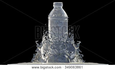 Bottle Of Water With Splashes, 3d Render Process, 4k Ultra Hd 3840x2160.