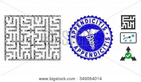 Pathogen Mosaic Labyrinth Icon And Round Grunge Stamp Seal With Appendicitis Caption And Medic Icon.