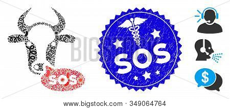 Infected Mosaic Cow Sos Message Icon And Round Distressed Stamp Watermark With Sos Phrase And Health