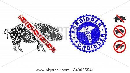 Pandemic Mosaic Forbidden Pork Icon And Round Grunge Stamp Watermark With Forbidden Text And Health