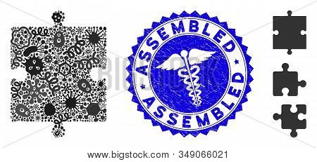 Infected Mosaic Puzzle Part Icon And Round Rubber Stamp Seal With Assembled Text And Clinic Sign. Mo