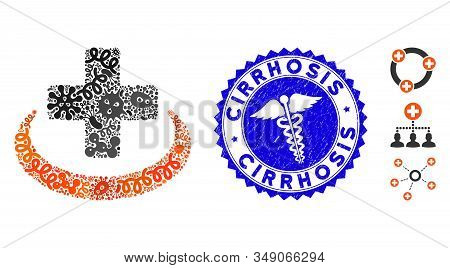 Pathogen Collage Medical Community Icon And Rounded Corroded Stamp Seal With Cirrhosis Text And Clin