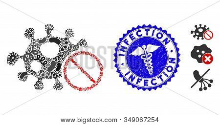 Epidemic Mosaic Stop Infection Icon And Round Rubber Stamp Seal With Infection Caption And Doctor Ic